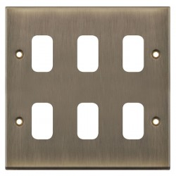 Selectric 7M-Pro GRID360 Antique Brass 6 Gang Faceplate
