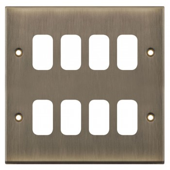 Selectric 7M-Pro GRID360 Antique Brass 8 Gang Faceplate