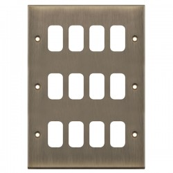 Selectric 7M-Pro GRID360 Antique Brass 12 Gang Faceplate