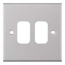 Selectric 5M GRID360 Satin Chrome 2 Gang Faceplate
