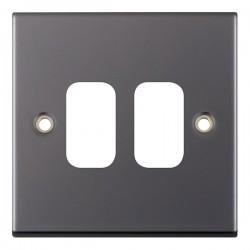 Selectric 5M GRID360 Black Nickel 2 Gang Faceplate