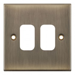 Selectric 5M GRID360 Antique Brass 2 Gang Faceplate