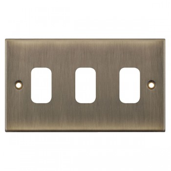 Selectric 5M GRID360 Antique Brass 3 Gang Faceplate