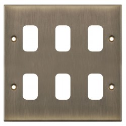 Selectric 5M GRID360 Antique Brass 6 Gang Faceplate