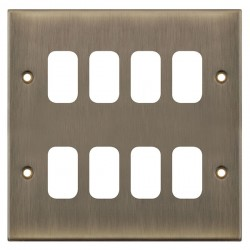 Selectric 5M GRID360 Antique Brass 8 Gang Faceplate