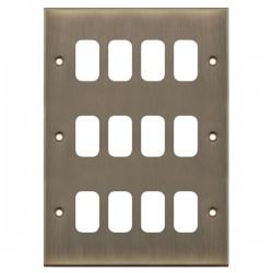 Selectric 5M GRID360 Antique Brass 12 Gang Faceplate