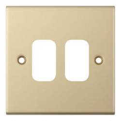 Selectric 5M GRID360 Satin Brass 2 Gang Faceplate