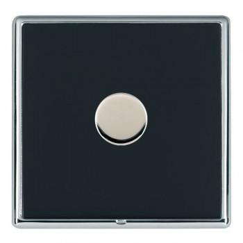 Hamilton Linea-Rondo CFX Bright Chrome/Piano Black Push On/Off Dimmer 1 Gang 2 way with Bright Chrome Insert