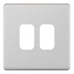 Selectric 5M-Plus GRID360 Satin Chrome 2 Gang Faceplate