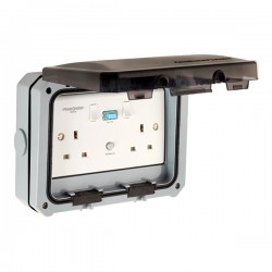 PowerBreaker ProteKt Weatherproof 2 Gang 13A Switched RCD Socket - Active 30mA