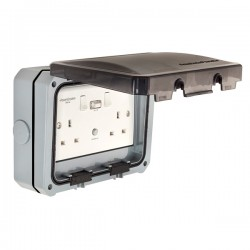 PowerBreaker ProteKt Weatherproof 2 Gang 13A Switched RCD Socket - Passive 30mA