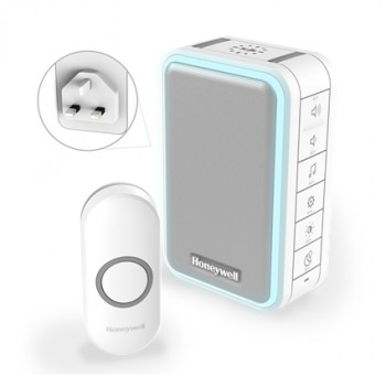 Honeywell Series 3 White Wireless Plug-In Doorbell with USB Charging and Push Button (Portrait)