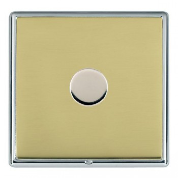 Hamilton Linea-Rondo CFX Bright Chrome/Polished Brass Push On/Off Dimmer 1 Gang Multi-way Trailing Edge with Bright Chrome Insert