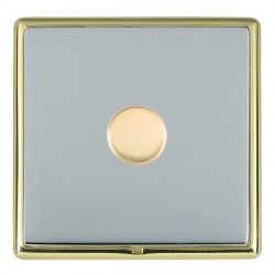 Hamilton Linea-Rondo CFX Polished Brass/Bright Steel Push On/Off Dimmer 1 Gang Multi-way Trailing Edge wi...