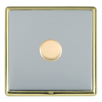 Hamilton Linea-Rondo CFX Polished Brass/Bright Steel Push On/Off Dimmer 1 Gang Multi-way Trailing Edge with Polished Brass Insert