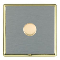 Hamilton Linea-Rondo CFX Polished Brass/Satin Steel Push On/Off Dimmer 1 Gang Multi-way Trailing Edge wit...
