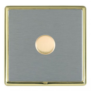 Hamilton Linea-Rondo CFX Polished Brass/Satin Steel Push On/Off Dimmer 1 Gang Multi-way Trailing Edge with Polished Brass Insert
