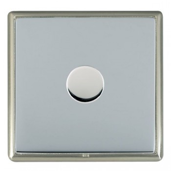 Hamilton Linea-Rondo CFX Satin Nickel/Bright Steel Push On/Off Dimmer 1 Gang Multi-way Trailing Edge with Satin Steel Insert