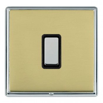 Hamilton Linea-Rondo CFX Bright Chrome/Polished Brass 1 Gang Multi way Touch Master Trailing Edge with Black Insert