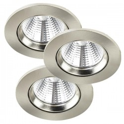 Nordlux Energetic Fremont Triple 2700K Adjustable Brushed Steel LED Downlight Kit
