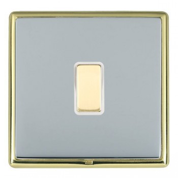 Hamilton Linea-Rondo CFX Polished Brass/Bright Steel 1 Gang Multi way Touch Master Trailing Edge with White Insert