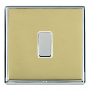 Hamilton Linea-Rondo CFX Bright Chrome/Polished Brass 1 Gang Multi way Touch Slave Trailing Edge with White Insert