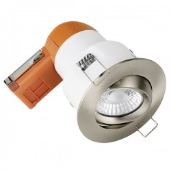 Aurora Lighting E6 Pro 6W 3000K Dimmable Adjustable LED Downlight with Satin Nickel Bezel