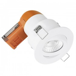 Aurora Lighting E6 Pro 6W 3000K Dimmable Adjustable LED Downlight with White Bezel