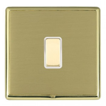 Hamilton Linea-Rondo CFX Polished Brass/Satin Brass 1 Gang Multi way Touch Slave Trailing Edge with White Insert