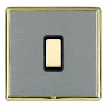 Hamilton Linea-Rondo CFX Polished Brass/Satin Steel 1 Gang Multi way Touch Slave Trailing Edge with Black Insert