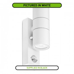 Aurora Lighting WallE PIR IP44 2x35W Black Up/Down GU10 Wall Light