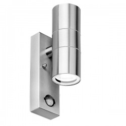 Aurora Lighting WallE PIR IP44 2x35W Stainless Steel Up/Down GU10 Wall Light