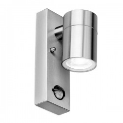 Aurora Lighting WallE IP44 35W Stainless Steel GU10 Wall Light with PIR
