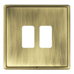 Hamilton Linea-Rondo CFX Antique Brass/Antique Brass 2 Gang Grid Fix Aperture Plate with Grid