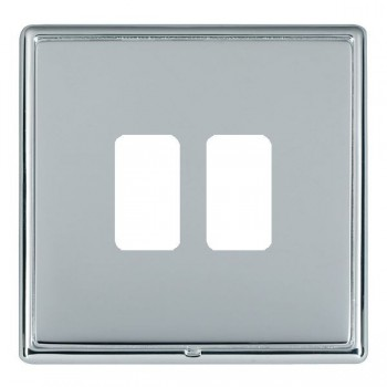 Hamilton Linea-Rondo CFX Bright Chrome/Bright Steel 2 Gang Grid Fix Aperture Plate with Grid