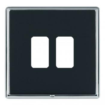 Hamilton Linea-Rondo CFX Bright Chrome/Piano Black 2 Gang Grid Fix Aperture Plate with Grid