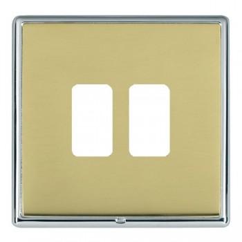 Hamilton Linea-Rondo CFX Bright Chrome/Polished Brass 2 Gang Grid Fix Aperture Plate with Grid