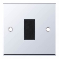 Selectric 7M Polished Chrome 1 Gang 10A 2 Way Switch with Black Insert