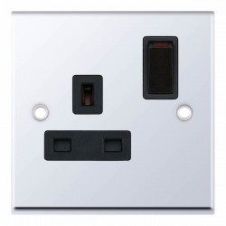 Selectric 7M Polished Chrome 1 Gang 13A DP Switched Socket with Black Insert