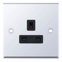 Selectric 7M Polished Chrome 1 Gang 13A Unswitched Socket with Black Insert