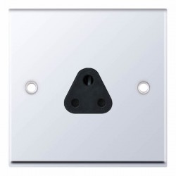 Selectric 7M Polished Chrome 1 Gang 2A Round Pin Socket with Black Insert