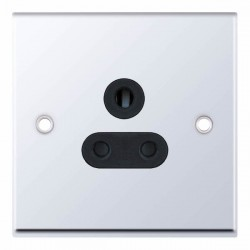Selectric 7M Polished Chrome 1 Gang 5A Round Pin Socket with Black Insert