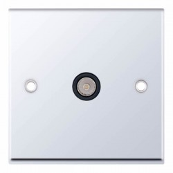 Selectric 7M Polished Chrome 1 Gang TV Socket with Black Insert