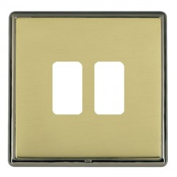 Hamilton Linea-Rondo CFX Black Nickel/Polished Brass 2 Gang Grid Fix Aperture Plate with Grid