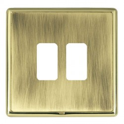 Hamilton Linea-Rondo CFX Polished Brass/Antique Brass 2 Gang Grid Fix Aperture Plate with Grid