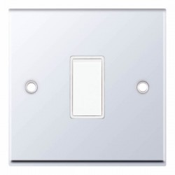 Selectric 7M Polished Chrome 1 Gang 10A 2 Way Switch with White Insert