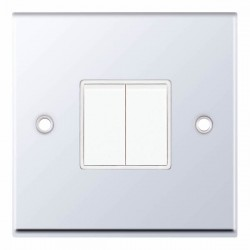 Selectric 7M Polished Chrome 2 Gang 10A 2 Way Switch with White Insert