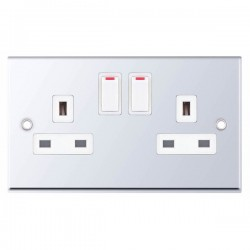 Selectric 7M Polished Chrome 2 Gang 13A DP Switched Socket with White Insert