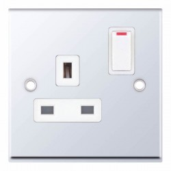 Selectric 7M Polished Chrome 1 Gang 13A DP Switched Socket with White Insert