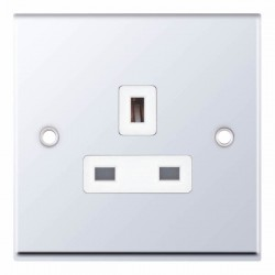 Selectric 7M Polished Chrome 1 Gang 13A Unswitched Socket with White Insert